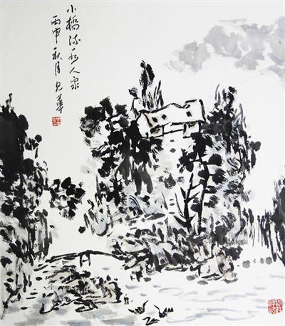 树叶子黑白意象画